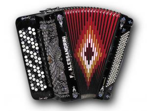 Chromatic button accordion of 45 notes (87 buttons) and 120 bass