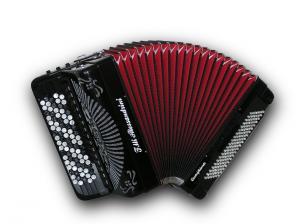 Mygtukinis 45 natų (87 mygtukų) ir 120 bosų cassotto akordeonas su rinktinių bosų sistema