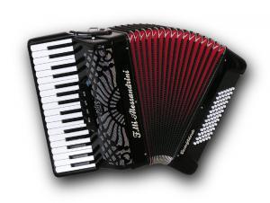 34 klavišų ir 72 bosų akordeonas