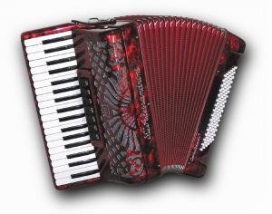 37 klavišų ir 96 bosų akordeonas