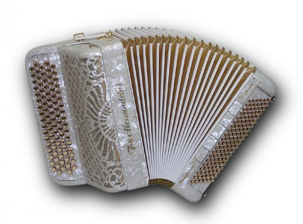 French chromatic accordion of 52 notes (87 buttons) and 120 bass with tone chamber (cassotto)